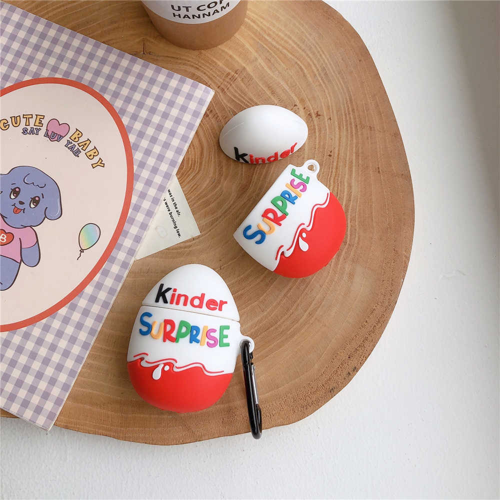Hot kinder สนุกไข่ไร้สายบลูทูธหูฟังสำหรับ AirPods 2 1 Chocolate surprise กล่อง 3D ซิลิโคนชุดหูฟัง coque ฝาครอบ