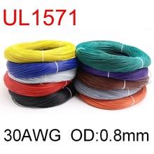 5M UL1571 30AWG PVC przewód elektroniczny OD 0 8mm elastyczny kabel izolowany cynowany miedź środowiskowa linia ledowa DIY przewód kolorowy tanie tanio CN (pochodzenie) Miedziane ze skrętek Napowietrzne Izolowane 300V -30Deg C ~ 80Deg C Tinned-Copper 7 0 1TS