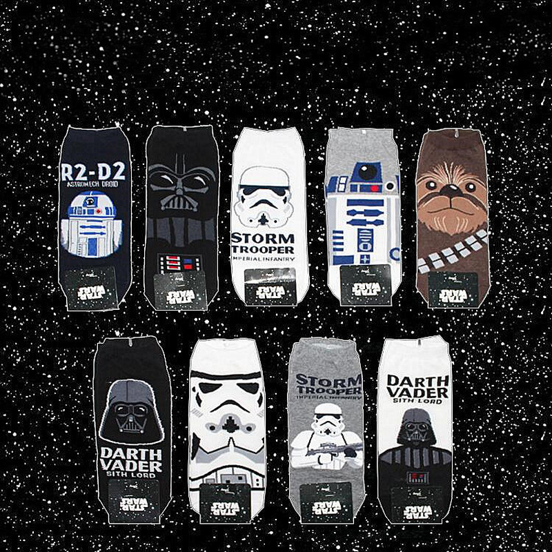 Fashion Star Wars Movie Stockings Master Yoda R2-D2 Cosplay Short Socks Wookiee Jedi Knight Novelty Men's Women's Ankle Socks