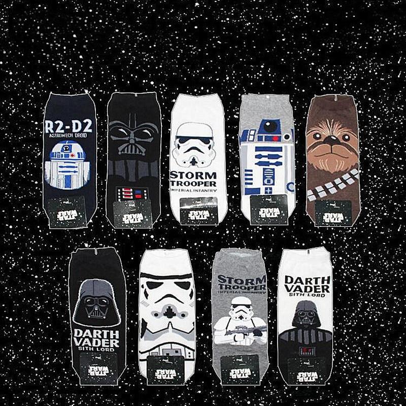 Fashion Star Wars Movie Stockings Master Yoda R2-D2 Cosplay Short Socks Wookiee Jedi Knight Novelty Men's Women's Ankle Socks