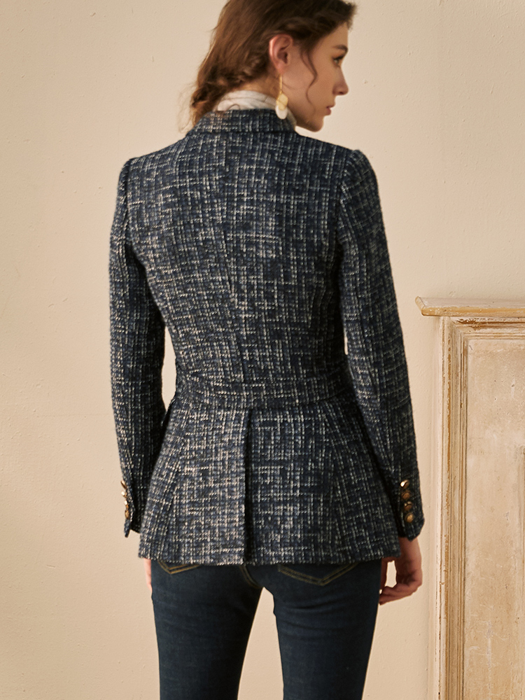 Luo Yi thick tweed small fragrance suit autumn and winter new temperament OL Slim lace woolen jacket