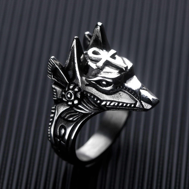 Stal nierdzewna egipt krzyż Anubis bóg pierścienie dla mężczyzn kobiety Punk głowa wilka Knuckle pierścień oświadczenie Retro pierścień czaszka