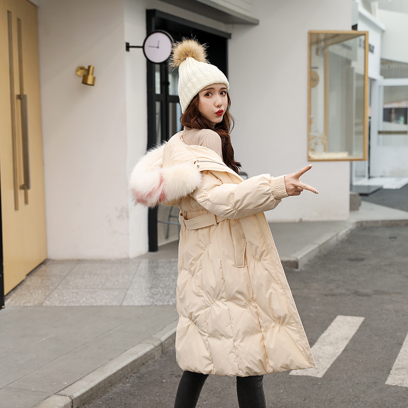 Winter Warm Snow Women Down Long Parkas Hooded White Duck Down Coat Large Natural Fur Collar Jackets Outwear With Belt