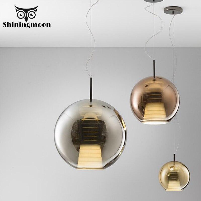 Golden Glass Pendant Lights Living Room Kitchen Hanging Lamps Modern Deco Bar Cafe Pendant Light Vanity Hanglamp Luminaria