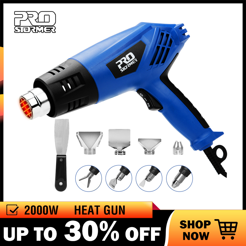 PROSTORMER 2000W Heat Gun 220V Electric Heating Gun  Hot Air Industrial Tool Dual Temperature Building Temperature with 4 Nozzle-in Heat Guns from Tools on