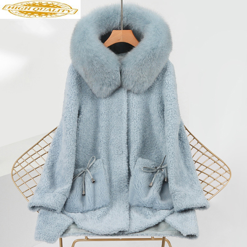 Real Sheep Shearling Fur Coat Female 100% Wool Coats Winter Jacket Women Fox Fur Collar Korean Jackets Chaqueta Mujer My