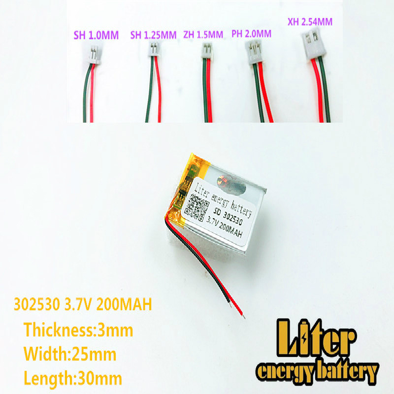 Size <font><b>302530</b></font> 3.7V 200mah Lithium polymer Battery with Protection Board For MP4 Digital Products image