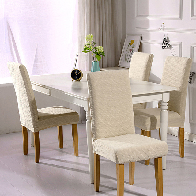 1/4/6 Pcs Jacquard Plain Dining Chair Cover Spandex Elastic Chair Slipcover Case Stretch Chair Cover for Wedding Hotel Banquet 2
