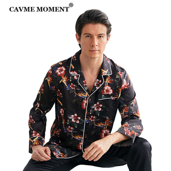 CAVME Printing Sleepwear for Men 100% Silk Pajama Set 2 Pieces Homewear Homeclothes PLUS SIZE Gift for Father