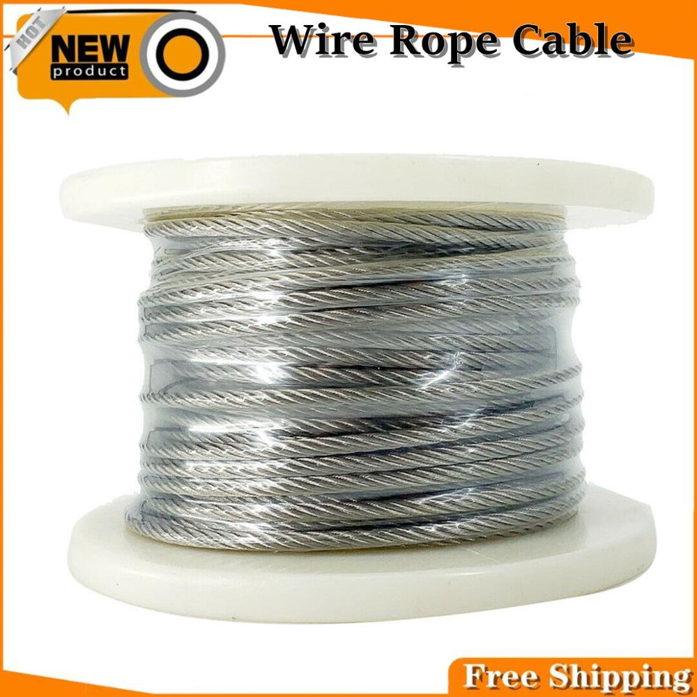 7x19 Flexible Wire Rope Soft Fishing Lifting Cable Stainless Steel T316 Stainless Clothesline Diameter 4mm 30 Meters/Roll-free Versan