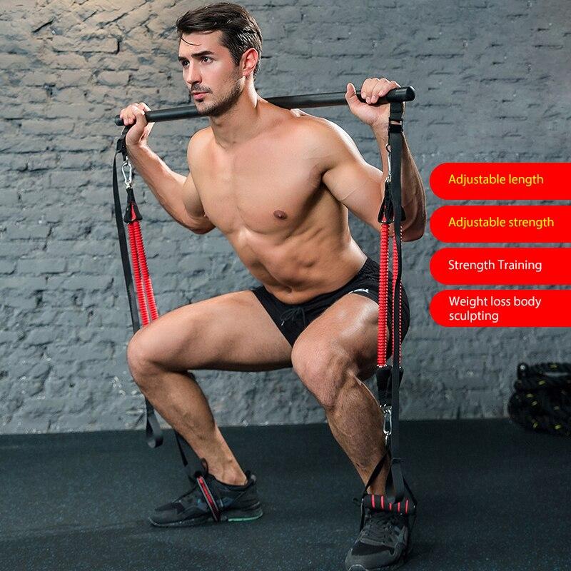 Fascia di resistenza con barra di allenamento per la forza per uomo e donna fasce per tubi in gomma allenamento per il corpo Fitness Stick esercizio dimagrante