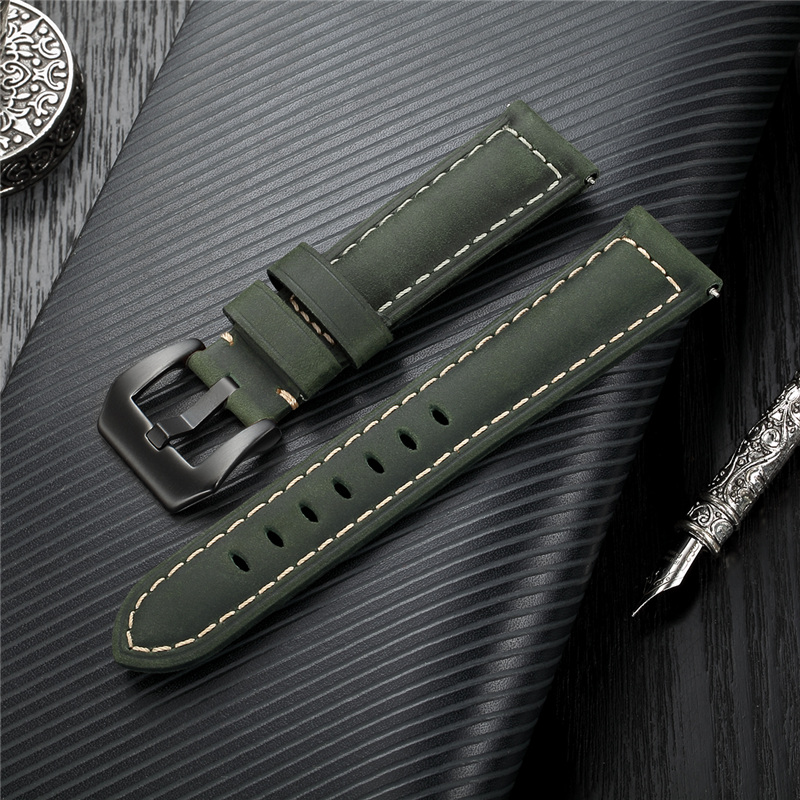 Handmade 4 Colors Vintage Watchband Genuine Leather Crazy Horse Strap 20mm 22mm 24mm 26mm Stainless Steel Buckle Watchbands
