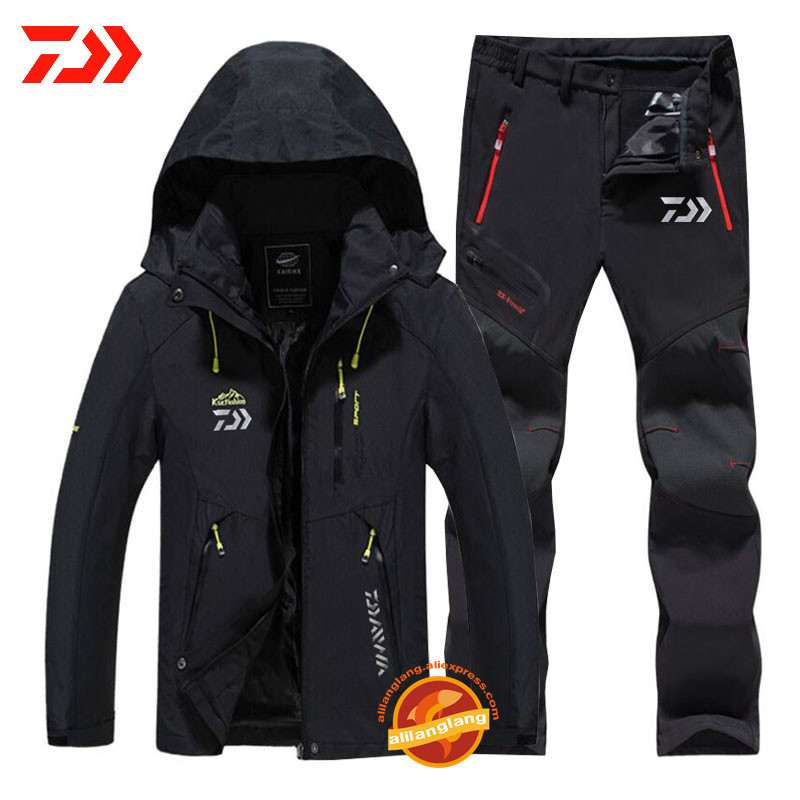 Daiwa New Man Winter Waterproof Fishing Clothing Warm Hiking Fishing Clothes Outdoor Trekking Camping Fishing Jacket Set Pants