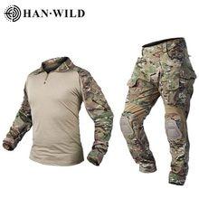 Calças de caça g3 terno tático militar uniforme multicam forças terno caça calça combate camisa calças airsoft militaire com almofadas