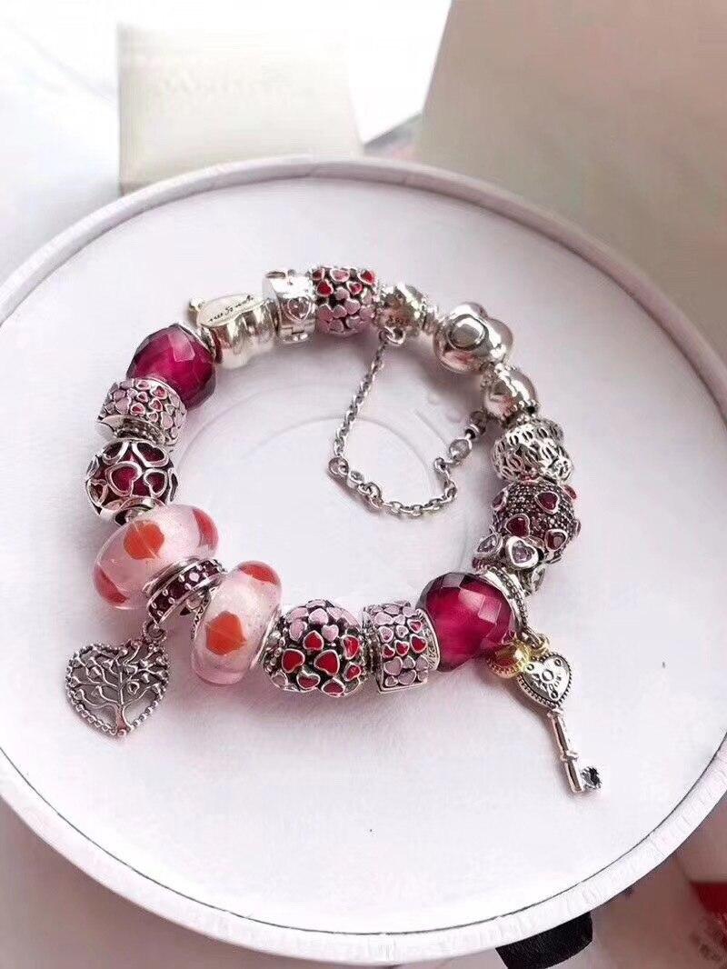 Ajax 925 Sterling Silber Armreifen Für Frauen Schöne Mädchen Stil String Perlen Armband Fit Charm Armband Frauen Schmuck DIY