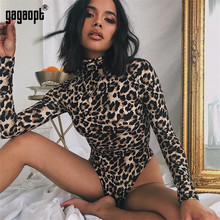 Gagaopt 2019 Leopard Sexy Bodysuit for Women Ladies Long Sleeve Snake Zebra Bodysuit Bodycon Skinny Playsuit Romper Jumpsuit(China)
