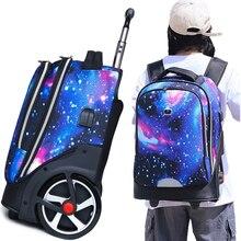 Trolley rugzakken tassen voor tieners School Wielen rugzak voor meisjes Usb-poort Opladen rugzak Op wielen bagage Rolling Tassen