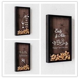Dostosuj wino korek dekoracja ślubna zaręczyny shadow box rustykalny słodki wieczór panieński gość spadek ramka skrzyni alternatywny drewniany