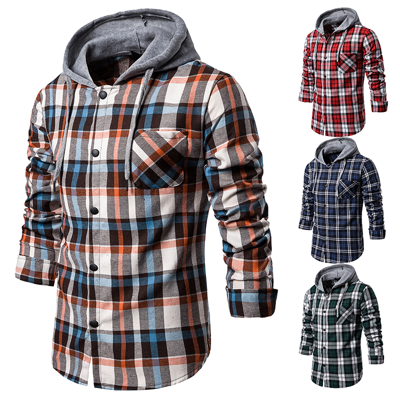 Brand Plaid Shirt 2020 Hoodies Tracksuit Men's Casual Shirts Long Sleeve Cardigan Shirt Top Hooded Blouse Sportswear Camisa