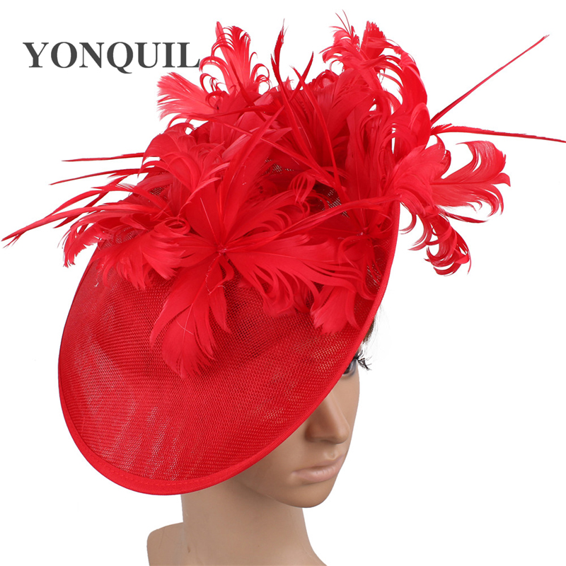 Fashion Wedding Women Derby Fascinator Hat Fancy Feathers Flower Bride Hats For Lady Bridal Mariage Occasion Sinamay Chapeau Cap