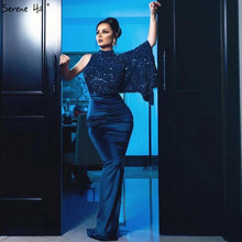 Serene tepe lacivert saten Mermaid seksi gece elbisesi 2020 Sequins bir omuz yarasa kollu örgün parti kıyafeti CLA70347