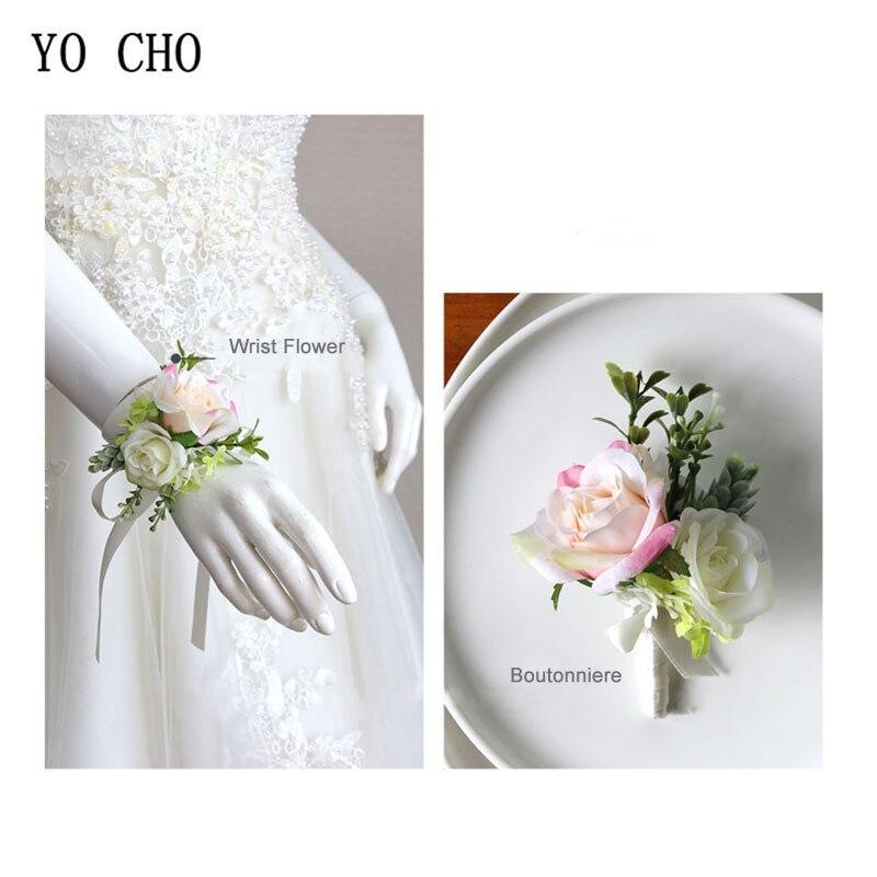 YO CHO Bride Wrist Corsage Men Boutonniere Wedding Bridesmaid Wrist Flower Girl Bracelet Sister Corsage Flower Artificial Rose