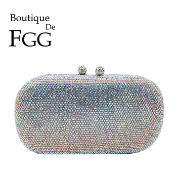Boutique De FGG Dazzling Silver AB Crystal Clutch Purses For Women Evening Bags Wedding Formal Dinner Bridal DIamond Handbags top quality luxury crystal evening clutch women wedding purses lady dinner party shoulder bags pink