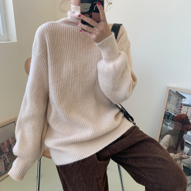 Ailegogo Women Turtleneck Knitted Pullovers Winter Casual Female Solid Color Loose Sweater Korean Style Ladies Knitwear Tops 4