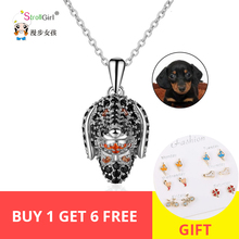 Strollgirl Authentic sterling silver 925 Necklace lovely Dog Head Inlay CZ Necklaces & Pendants  Women Fashion Jewelry Hot Sale