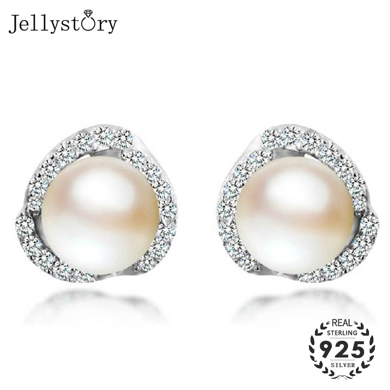 Jellystory Fashion 925 Silver Earrings With Natural Freshwater Pearl Zircon Gemstone For Women Jewelry Stud Earring Wedding Gift