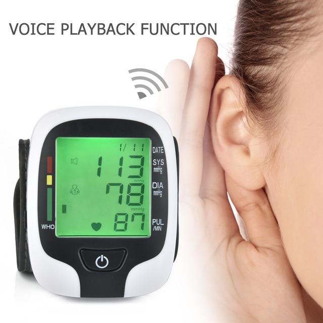 Electric Wrist Sphygmomanometer Upper Arm Blood Pressure Monitor LCD Digital Rechargeable Heart Beat Rate Pulse Meter Medical