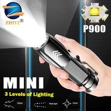 Recarregável mini p900 led lanterna portátil 3 modo led lanterna tática built-in 1200mah bateria noite luz de pesca tocha