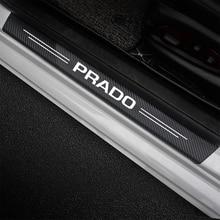 4 pçs logotipo do carro placa de chinelo peitoril da porta decoração adesivos de fibra de carbono para toyota prado 120 150 j120 j150 lc120 lc150 2021 2020 - 2002