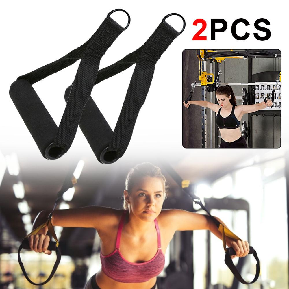 Galleria fotografica Gym Handle Extra Wide Foam Grips for Fitness Crossfit Lifting Pulling Workout Heavy Duty D-ring Pull Rope Cable Tube Accessories