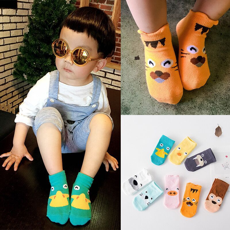 Cute Baby Cartoon Animal Socks Toddler Infant Anti-slip Cotton Asymmetry Short Socks Newborn Boys Girls Ankle Floor Calcetines
