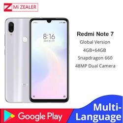 Глобальная версия белый Xiaomi Redmi Note 7 4 ГБ ОЗУ 64 Гб ПЗУ 5 в 2A QC зарядка мобильный телефон Snapdragon 660 4000 мАч 48MP Xiomi камера