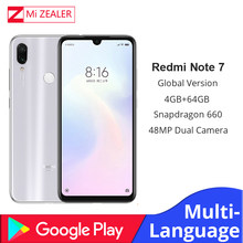 Global Version White Xiaomi Redmi Note 7 4GB RAM 64GB ROM 5V 2A QC charge Mobile Phone Snapdragon 660 4000mah 48MP Xiomi Camera(China)