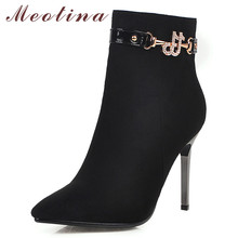 Meotina Winter Ankle Boots Women Boots Crystal Thin Heel Short Boots Zip Extreme High Heel Shoes Lady 2019 Autumn Big Size 33-43 fashion colorized rhinestone ankle boots lace crystal embroidered botas thin high heel boots spring autumn winter women shoes