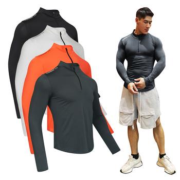 Męska koszulka kompresyjna do biegania Fitness Tight koszulka z długim rękawem trening mięśni koszule siłownia odzież sportowa Rashguard dla mężczyzn tanie i dobre opinie FSYL CN (pochodzenie) Wiosna AUTUMN Winter POLIESTER Dobrze pasuje do rozmiaru wybierz swój normalny rozmiar Men s Compression T-Shirt