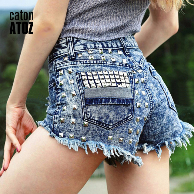 catonATOZ 1993 Women's Fashion Brand Vintage Tassel Rivet Ripped High Waisted Short Jeans Punk Sexy Hot Woman Denim Shorts 5