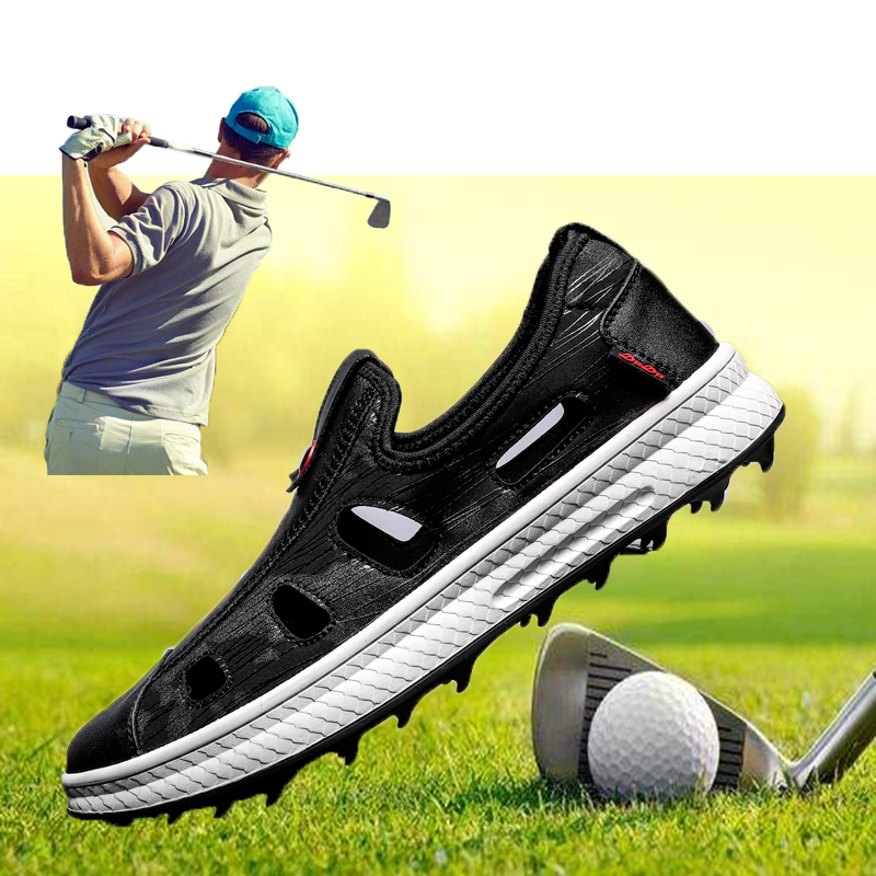 Mens Leather Golf Sandals Shoes Outdoor Summer Breathable Athtelic Golf Trainers Sneakers For Men Lightweight Sport Shoes