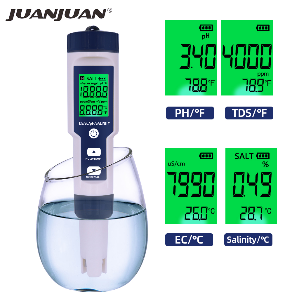 5 IN 1 PH Temperature TDS EC Salinity Meter Waterproof With Automatic Calibration Function Water Quality PH Tester 40%off