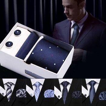Men`s Tie 7.5 cm 100% Silk Stripe Dot Polyester Jacquard Tie&Hanky&Cufflinks Sets For Formal Wedding Party