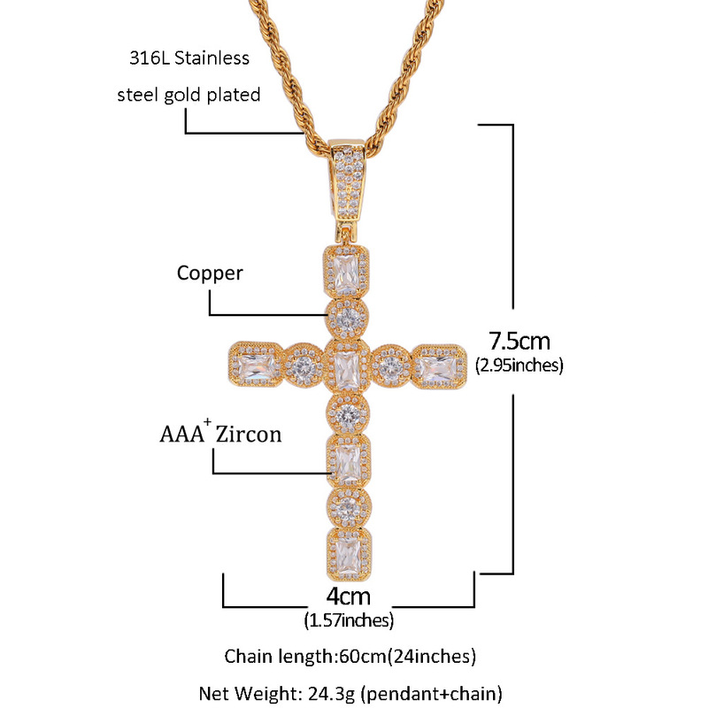 Men Women Zircon Cross Pendant Gold Silver Copper Material Cross Pendants Necklace Chain Fashion Hip Hop Jewelry in Pendant Necklaces from Jewelry Accessories