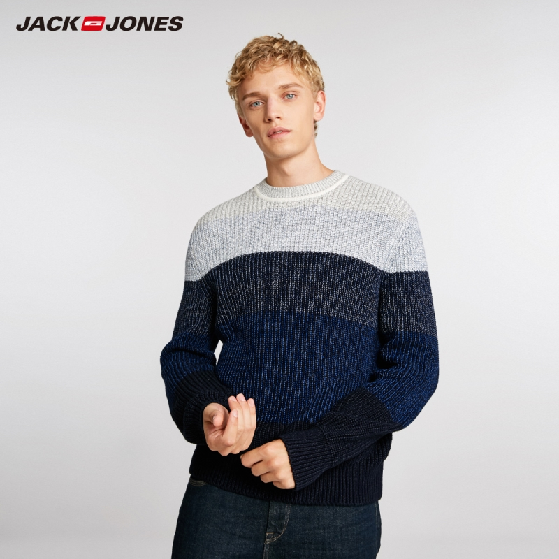 JackJones Men's Basic Style Stitching Color Round Neck Sweater 218425504