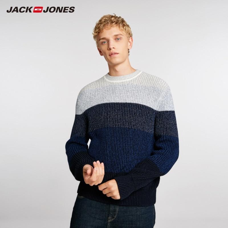 JackJones Men's Basic Style Stitching Color Round Neck Sweater 218425504