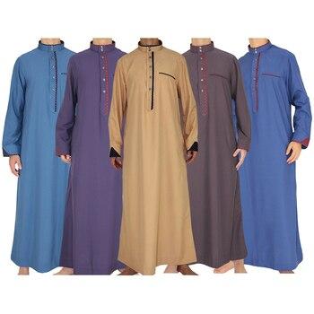 (Wholesale 12Pieces/lot) Men Islamic Clothing Robe Full Sleeve Muslim Stiching Kaftan Jubba Thobe Saudi Arab Abaya Pakistan Gown