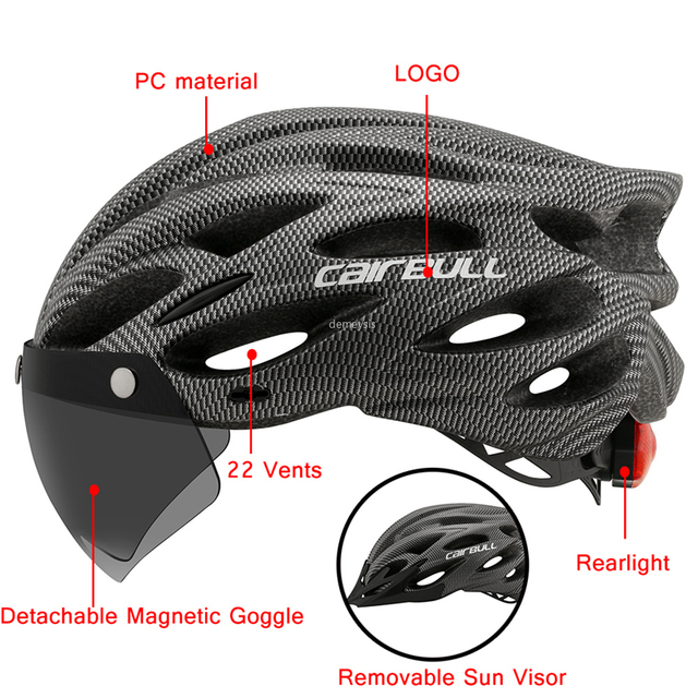 Ultraleve ciclismo capacete de segurança ao ar livre da motocicleta bicicleta taillight capacete lente removível viseira mountain road bicicleta capacete 5