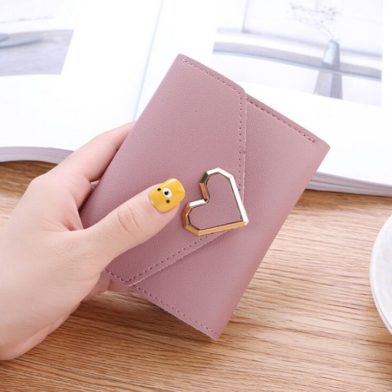 2019 Women Wallets PU Leather Vintage Small Fresh Metal Heart-Shaped Lady Student Short Purse Women Small Simple Fashion Wallet
