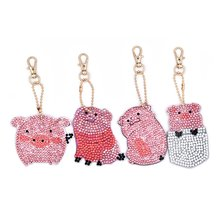 Crystal pattern 5D Diamond Embroidery cartoon pig elephant Diamond Painting Key Chain Special Sticker Double Sided Keychain fullcang diy 5pcs full square diamond embroidery horror movie 5d diamond painting cross stitch mosaic needlework kits sale d907